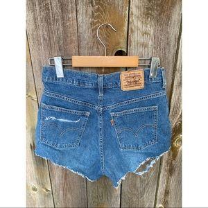 LEVI'S orange tab distressed high waisted shorts